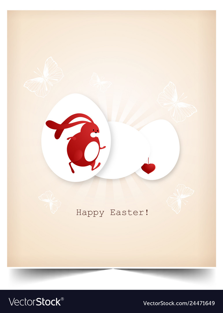 Happy holiday easter day card egg with bunny
