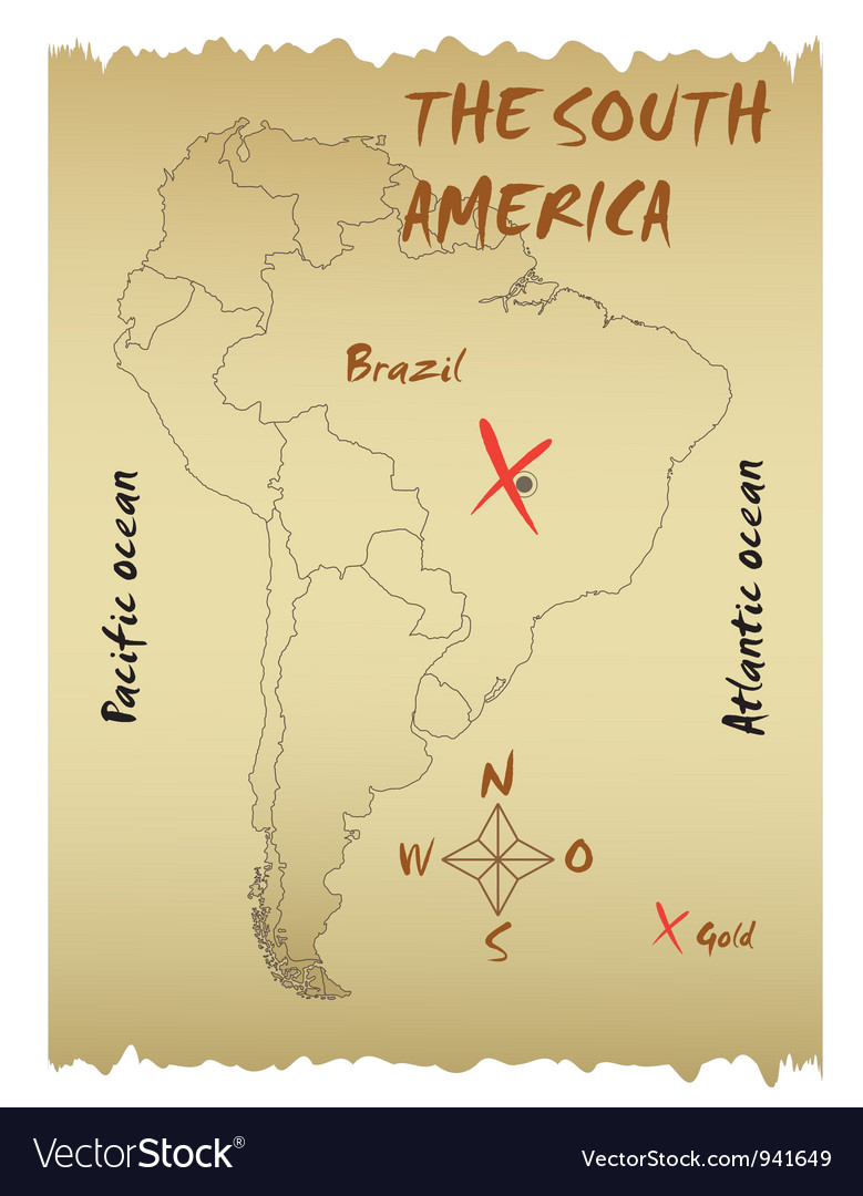 Map of the South America