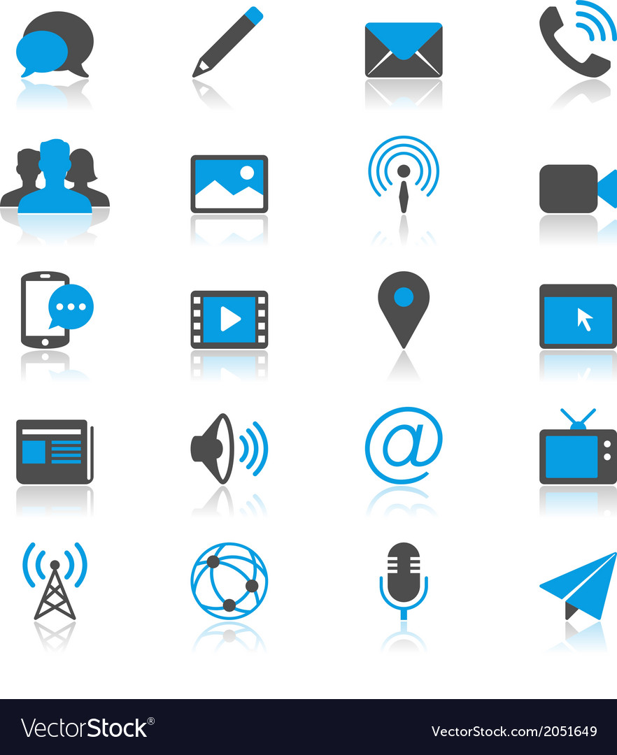 Media and communication flat with reflection icons