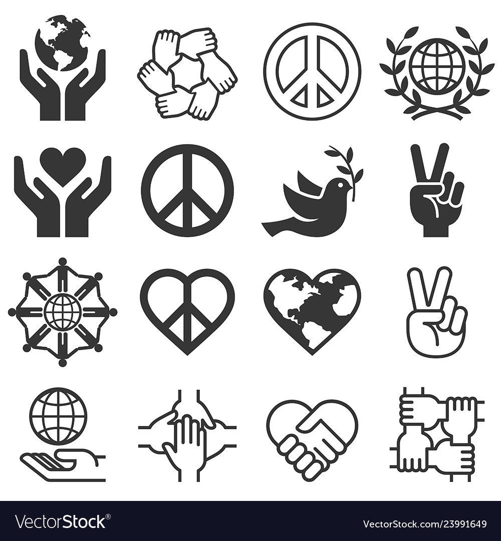 Peace and love symbol icons set llustrations