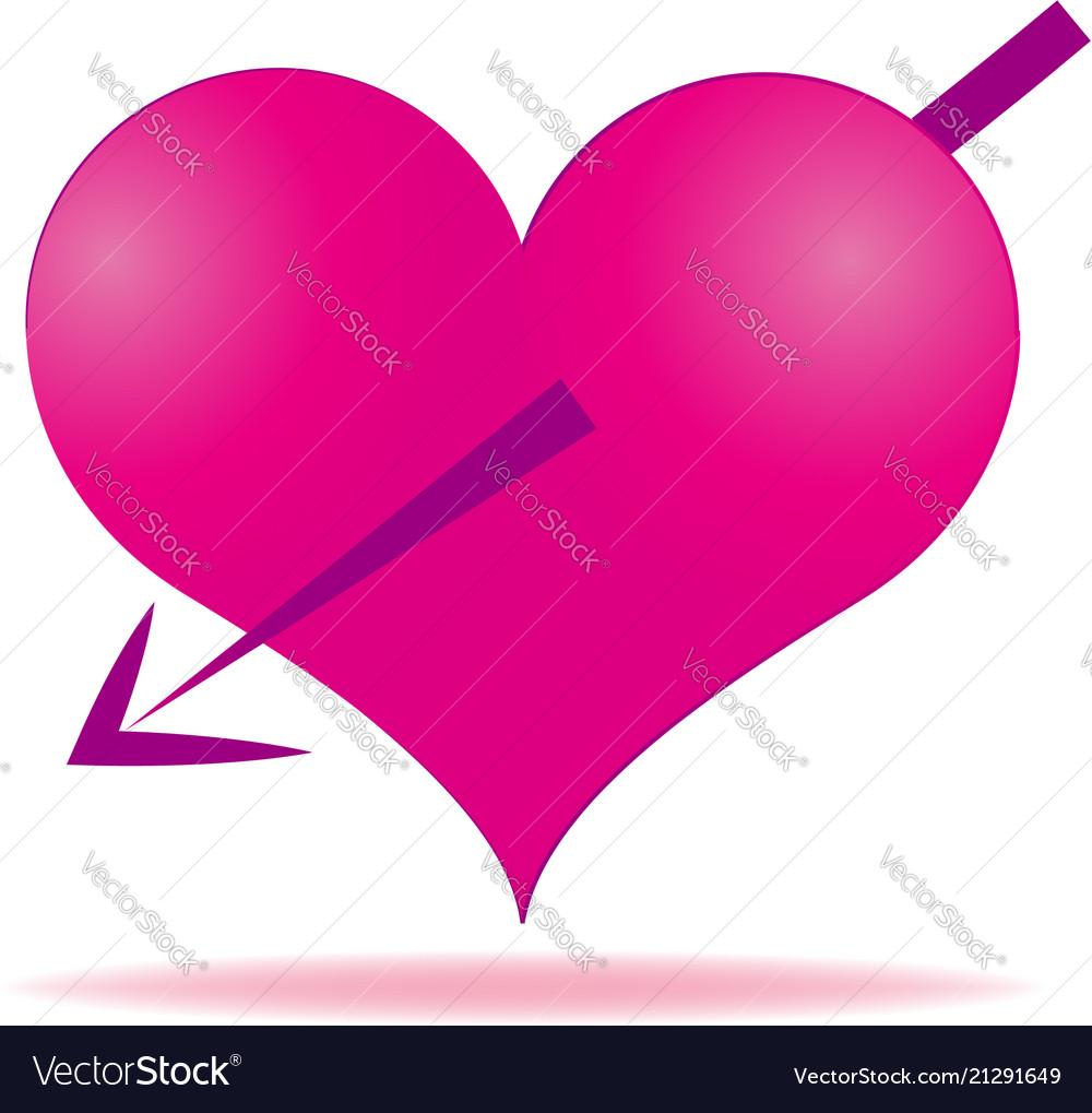 Pink heart arrows piercing icon