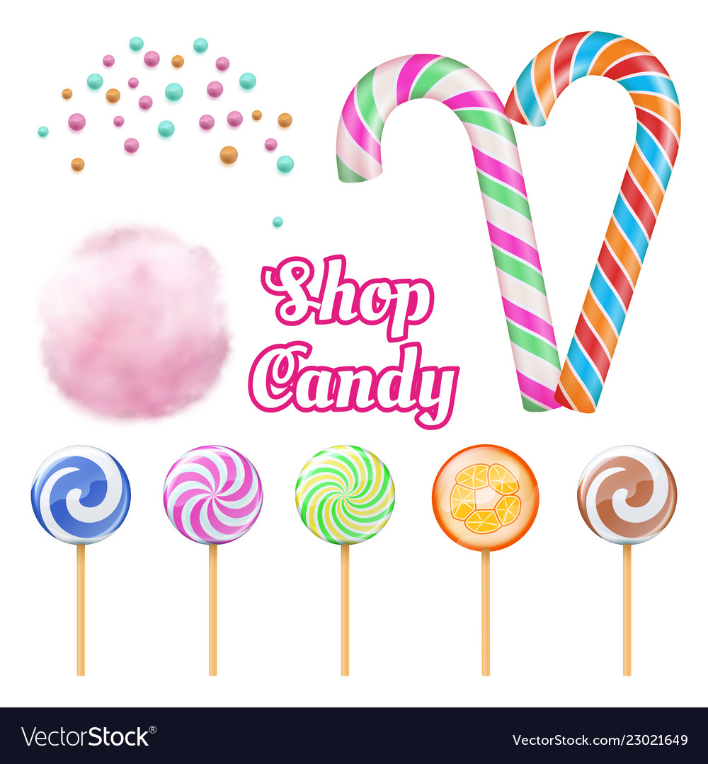 Realistic candies - cotton candie and