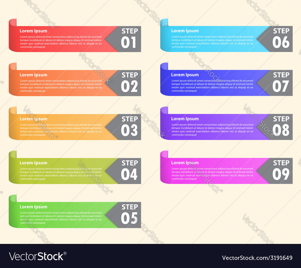 Set of colorful bookmarks Infographics background vector image