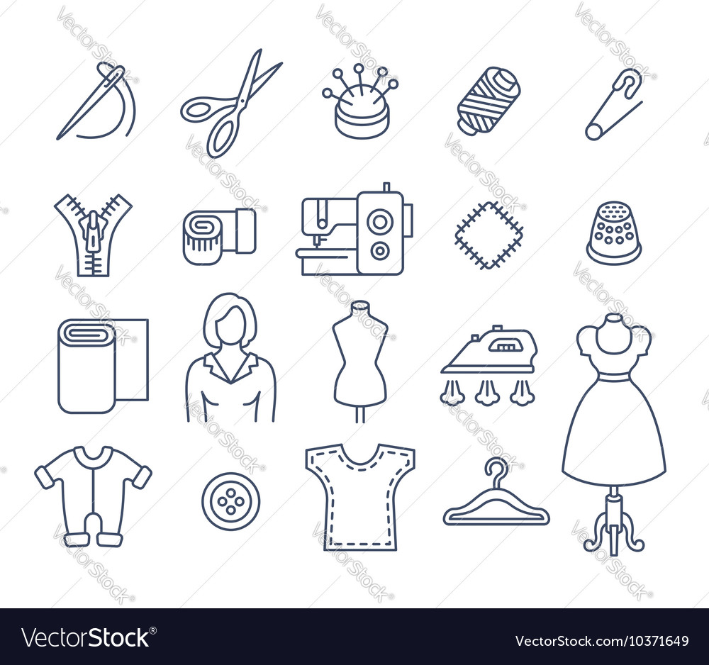 Sewing tools flat thin line icons