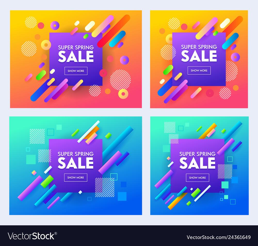 Spring super sale poster set color design