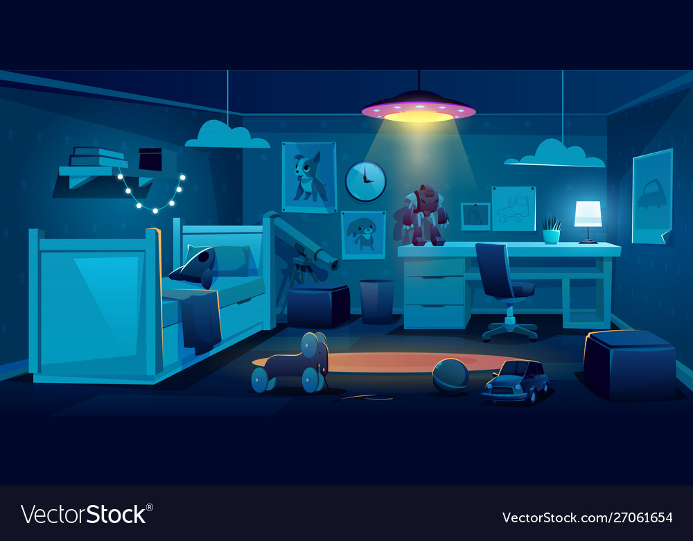 Child Bedroom For Boy At Night Time Dark Room Vector Image