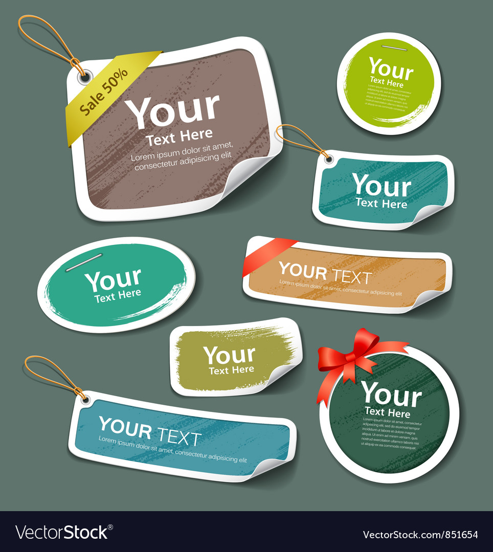 Colorful collection label and tag paper esign