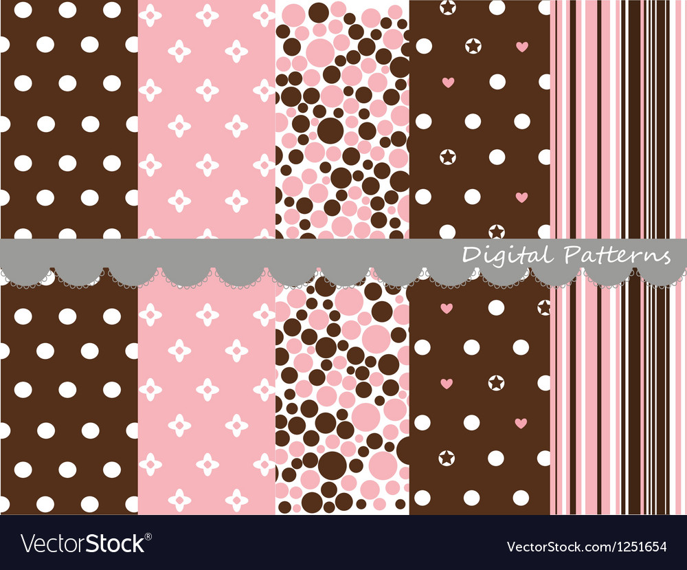 Digital patterns scrapbook set vector image