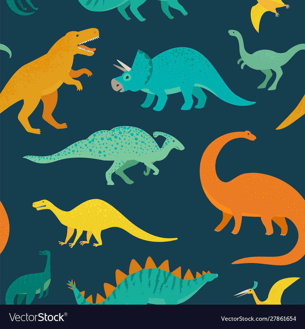 Hand drawn seamless pattern with dinosaurs