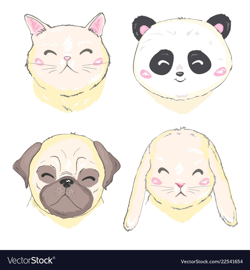 Pets face dog cat and rabbit