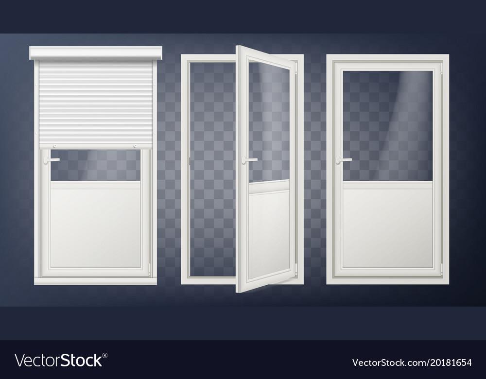 Plastic Glass Door White Roller Shutter Vector Image