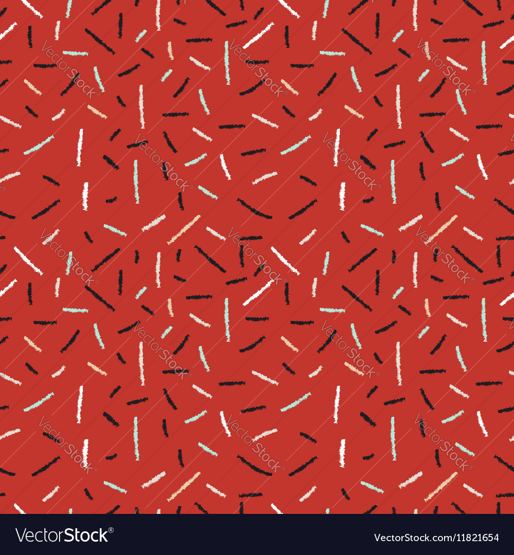Red hand drawn xmas seamless pattern with lines