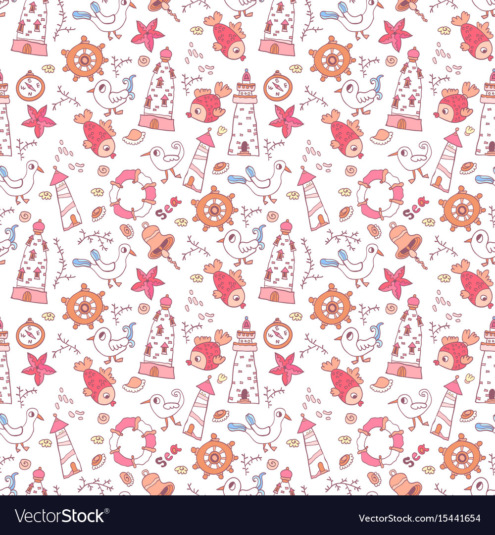 Simple doodle nautical seamless pattern