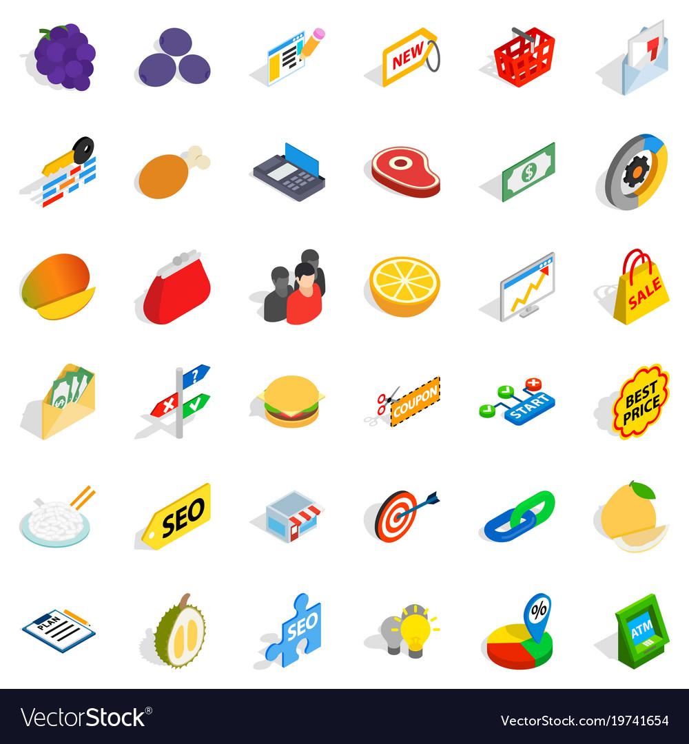 Suggestion icons set isometric style