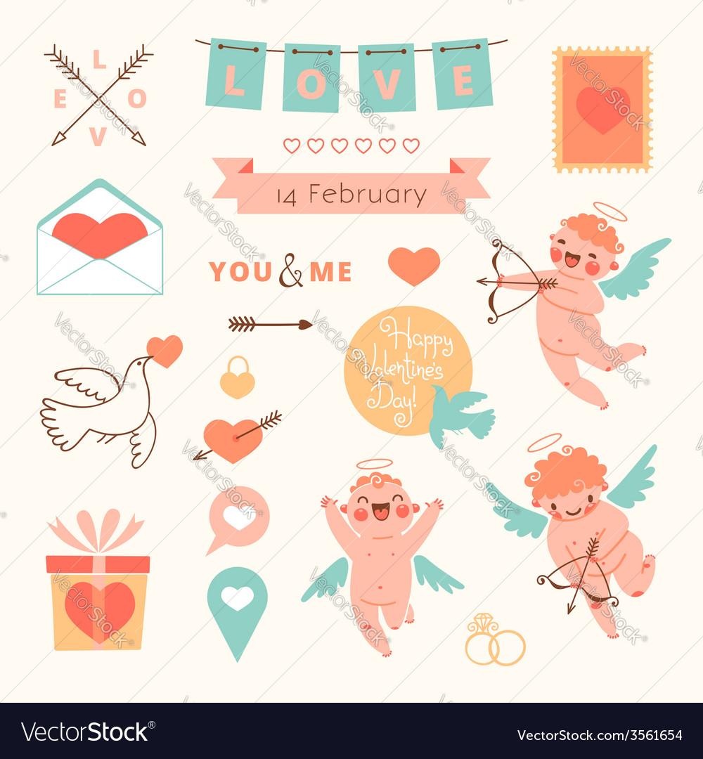 Valentines Day set of elements for design