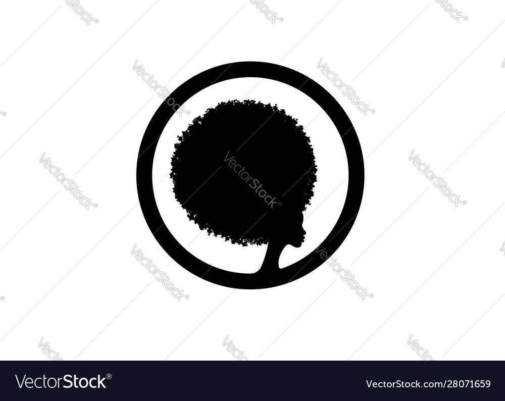 Afro woman logo design black diadem curly