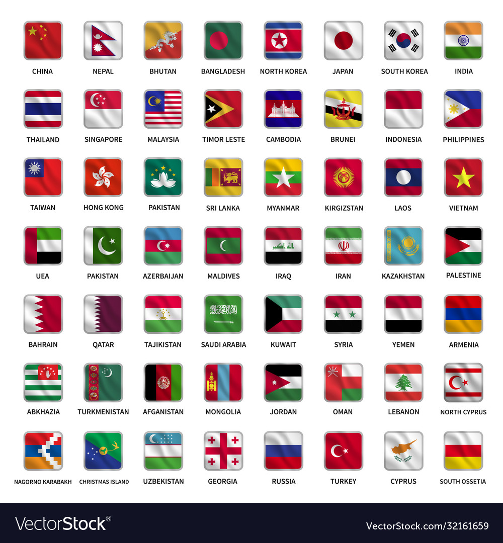 All asian country flags icons square shape waving