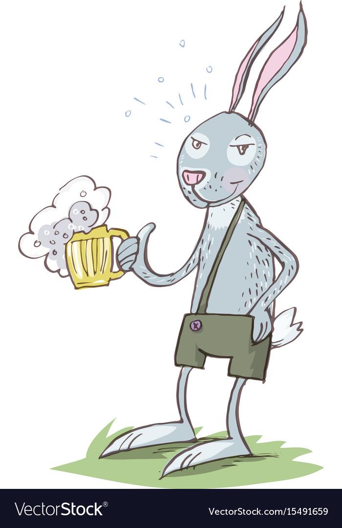 Bunny Drinking Beer Cartoon Eps 10 Royalty Free Vector Image