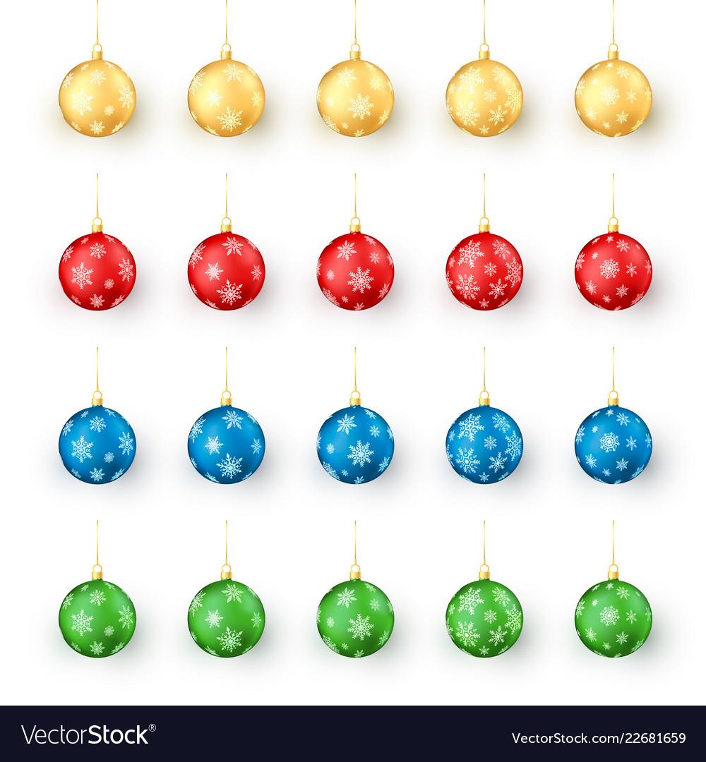 Colorful christmas balls set realistic set of