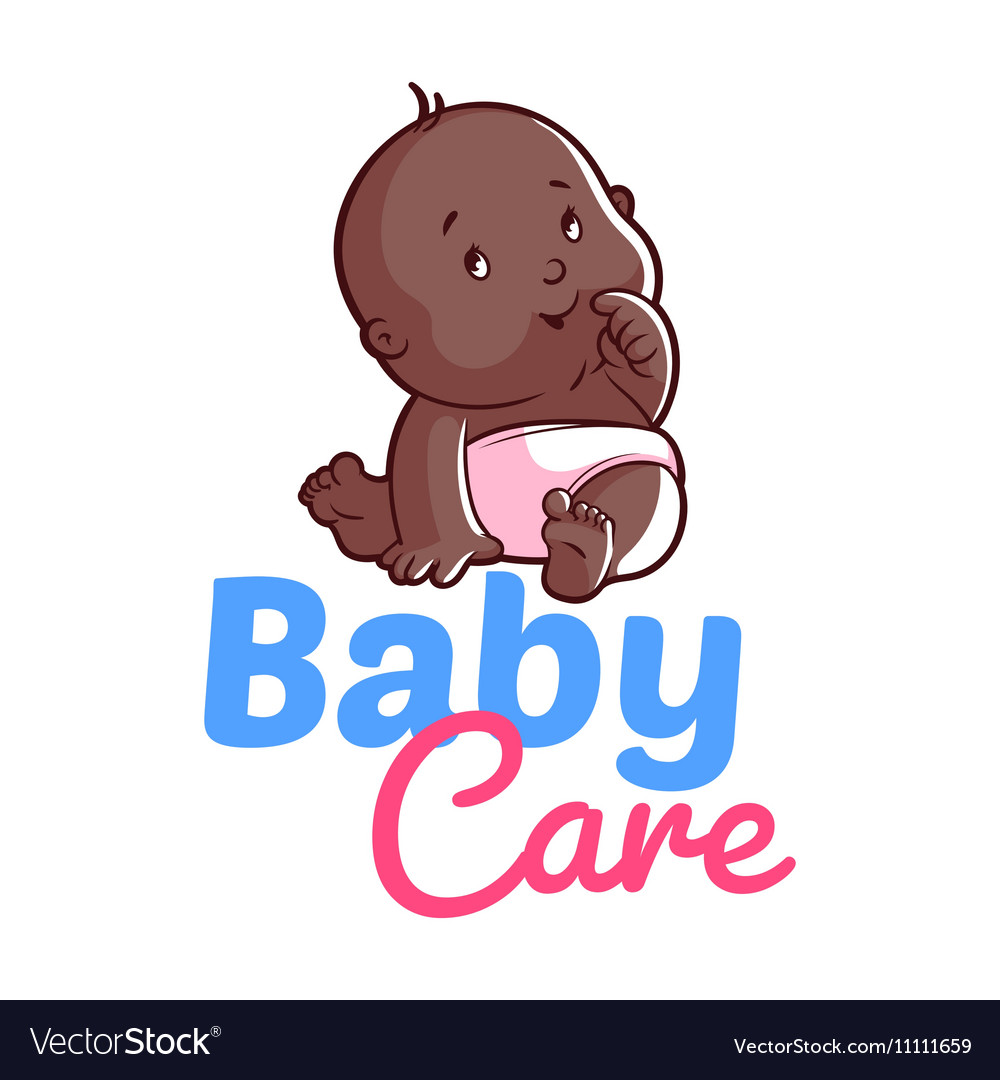 Cute toddler in diaper Baby care logo vector image