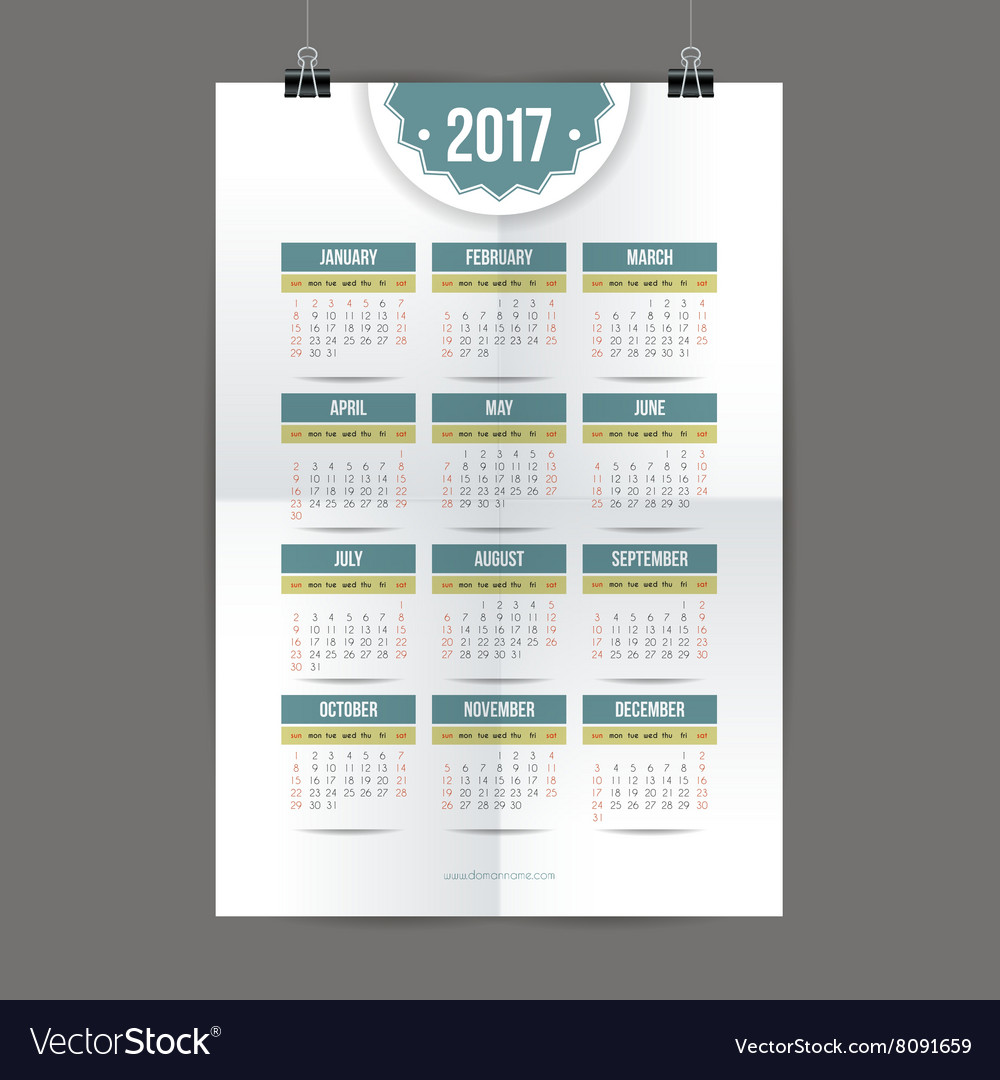 Design for calendar 2017 English or American
