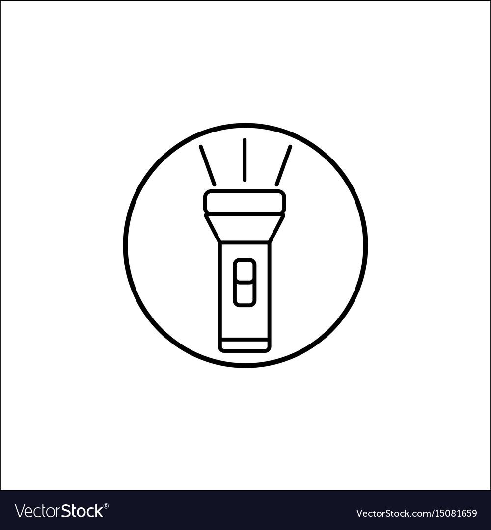 Flashlight line icon mobile sign graphics