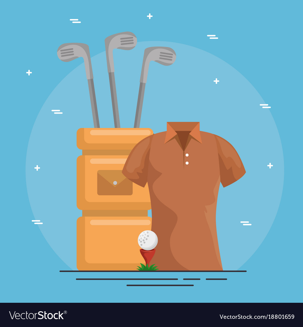 Golf bag and clubs icons