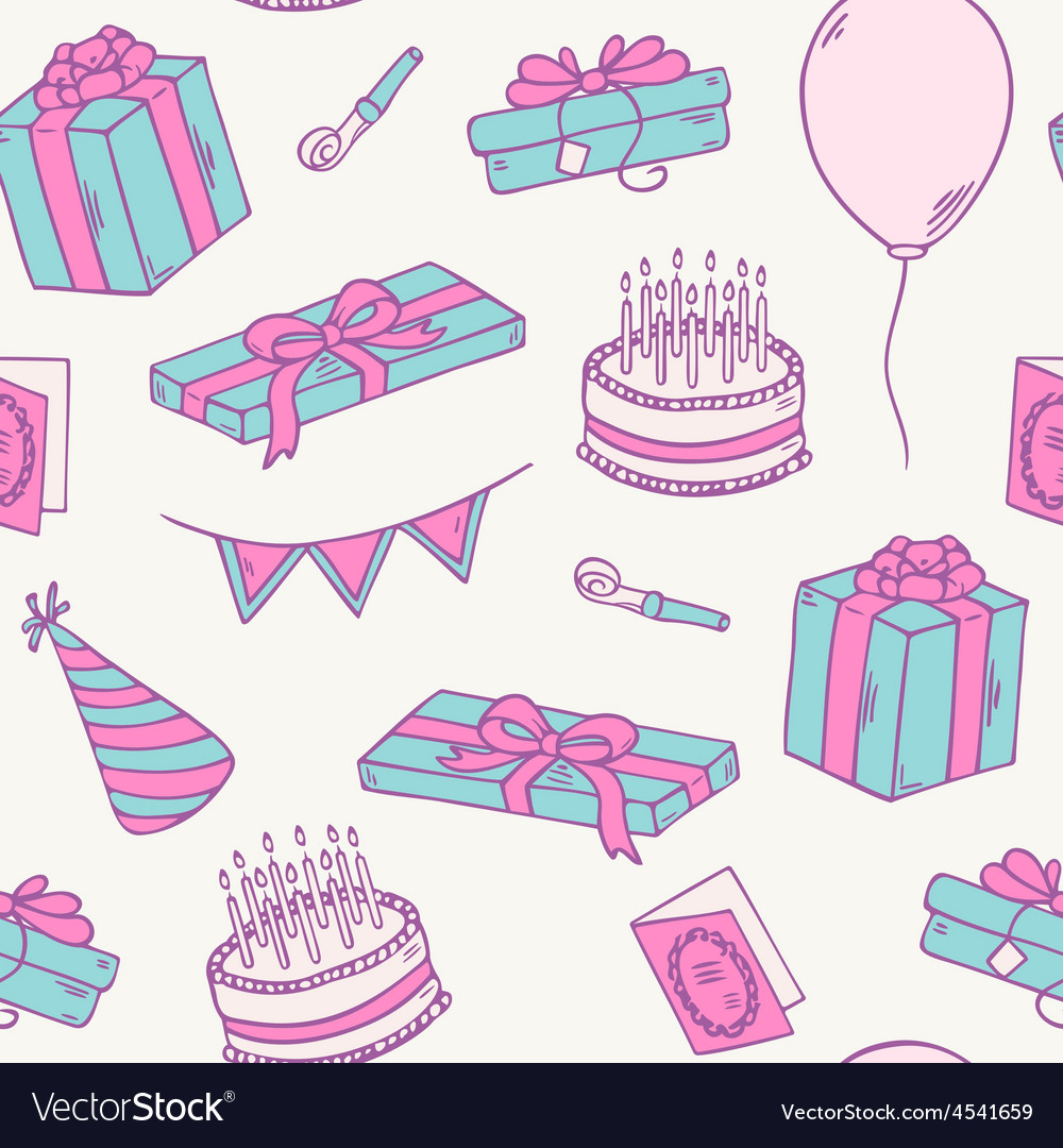 Hand drawn birthday party seamless pattern