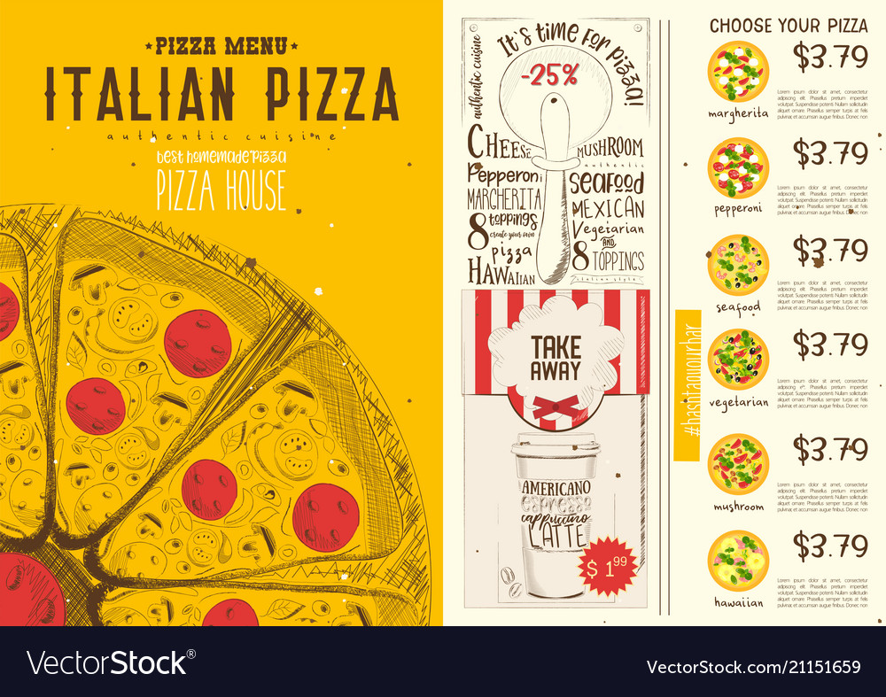 italian pizza menu template royalty free vector image