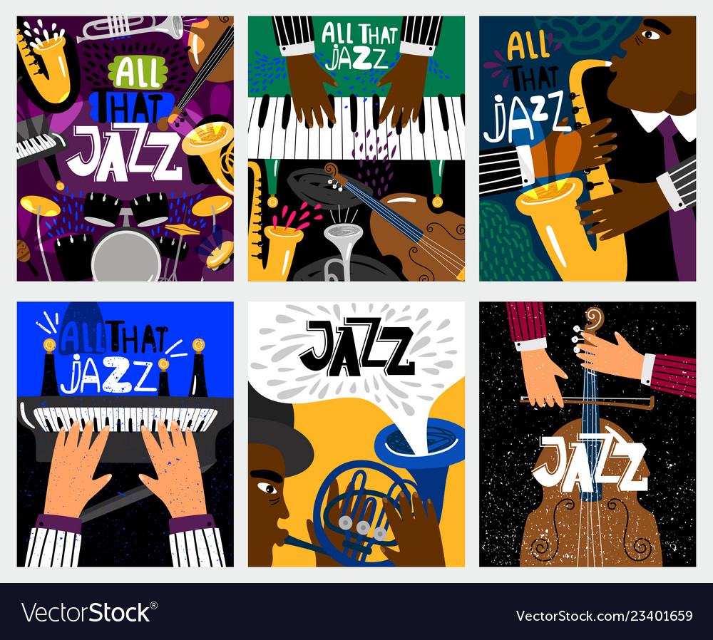Jazz music banners vector