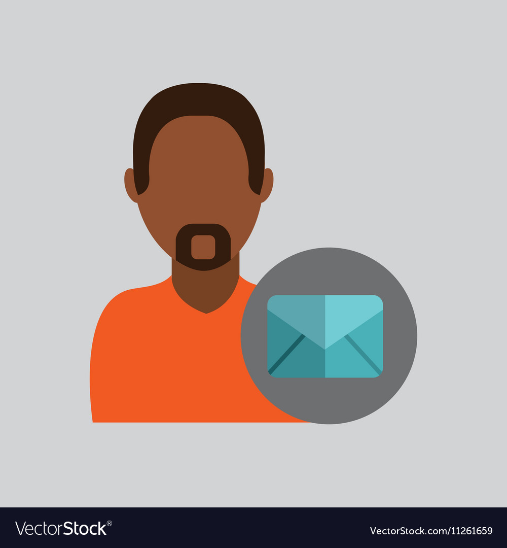 man african email message icon design graphic vector image