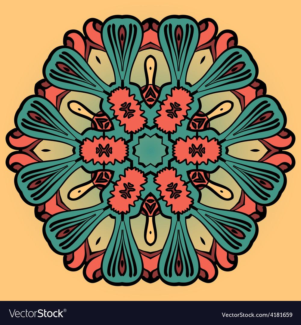 Mandala flower design over yellow pattern vector image