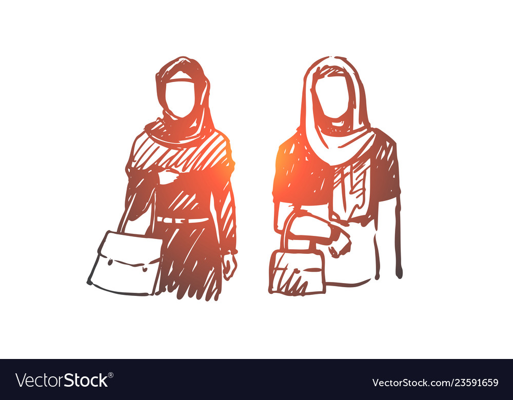 Muslim woman arab islam hijab concept hand