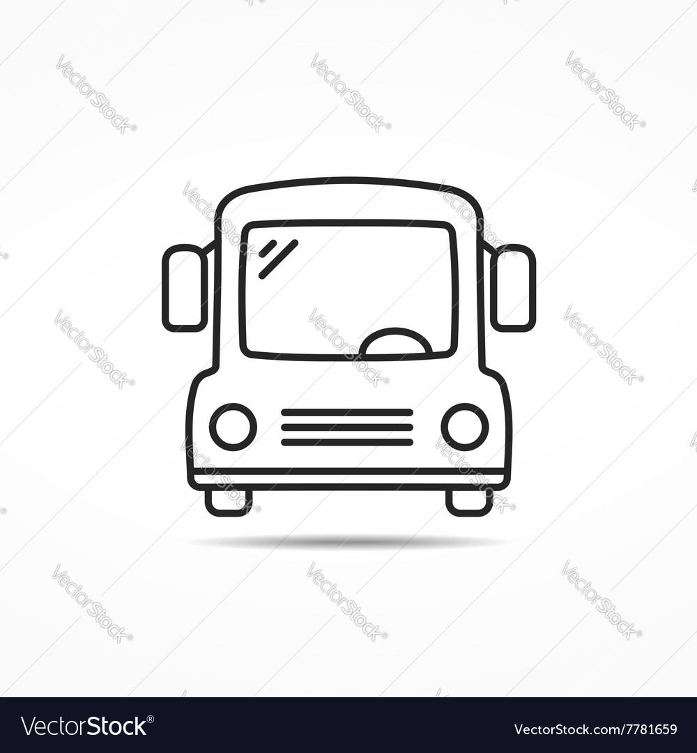 School Bus Line Icon