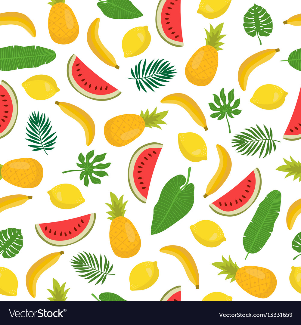 Seamless pattern with bananas pineapples