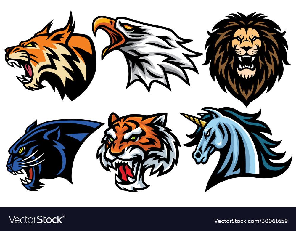 Wild animals heads logo mascot design set pack