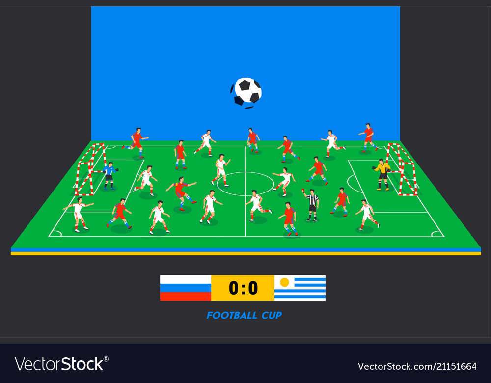 3d isometric football field with football teams