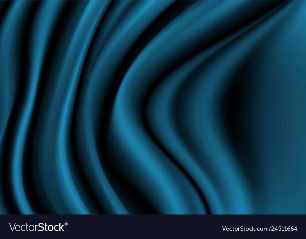 Abstract dark blue fabric satin wave luxury