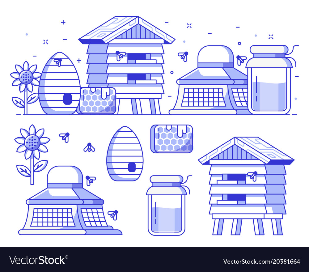 Beekeeping and apiary icon set