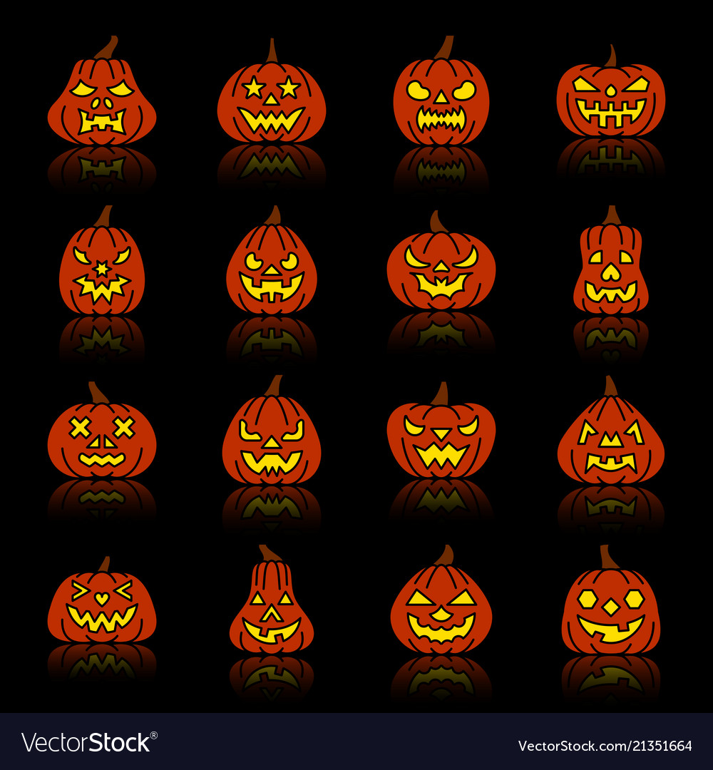 Carving Face Halloween Pumpkin Silhouette Icon Set