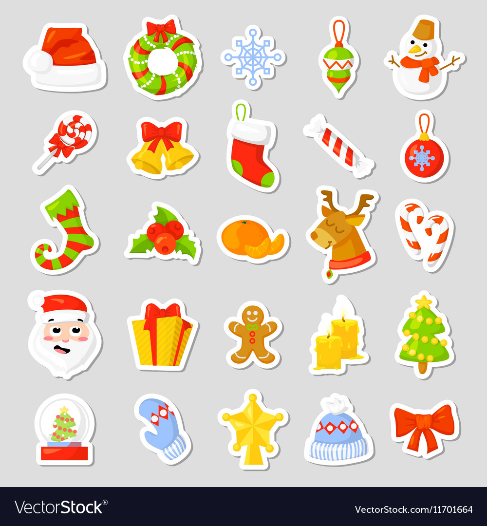 Christmas stickers Set Collection cartoon
