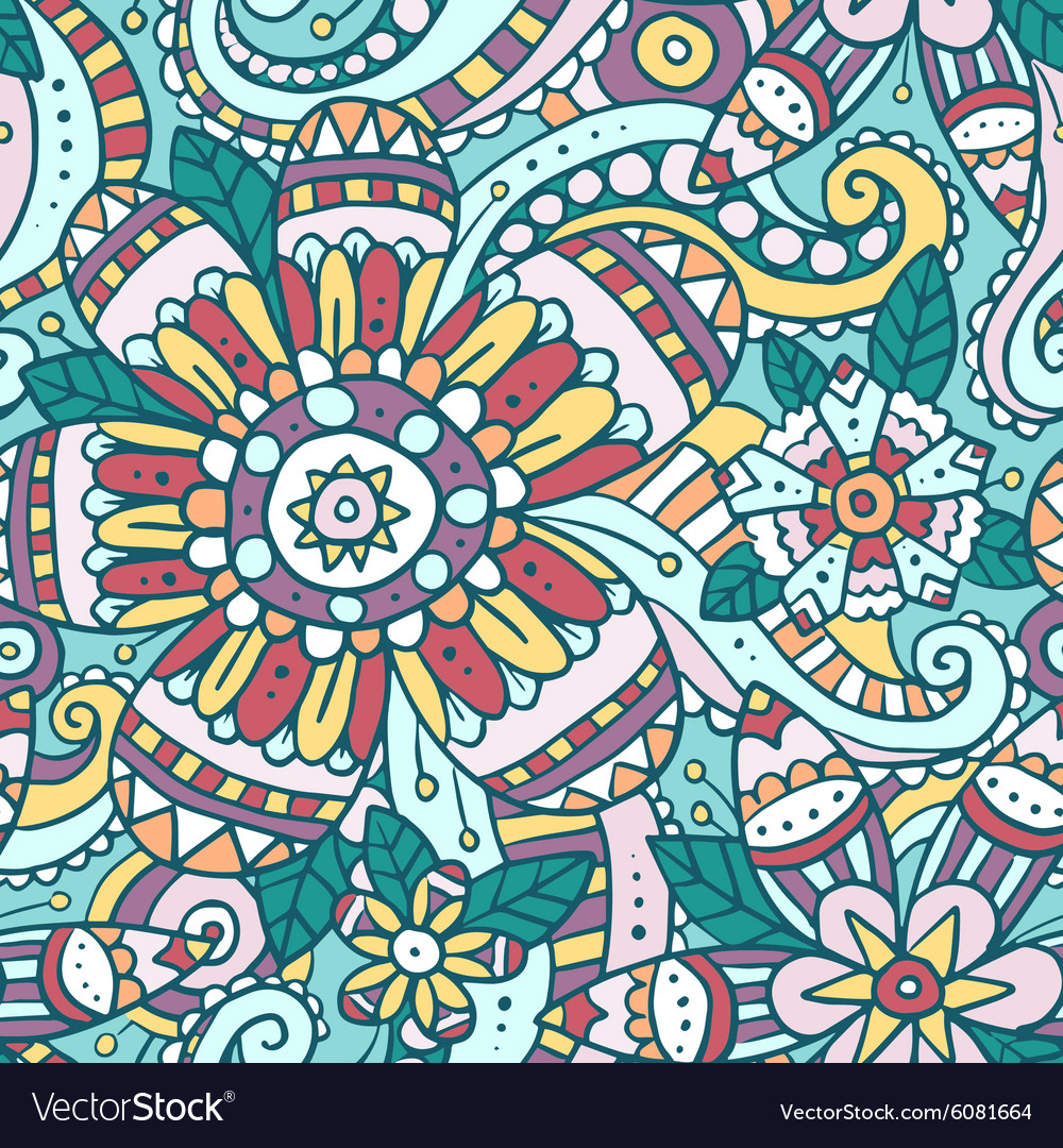 Colorful abstract seamless pattern with flowers