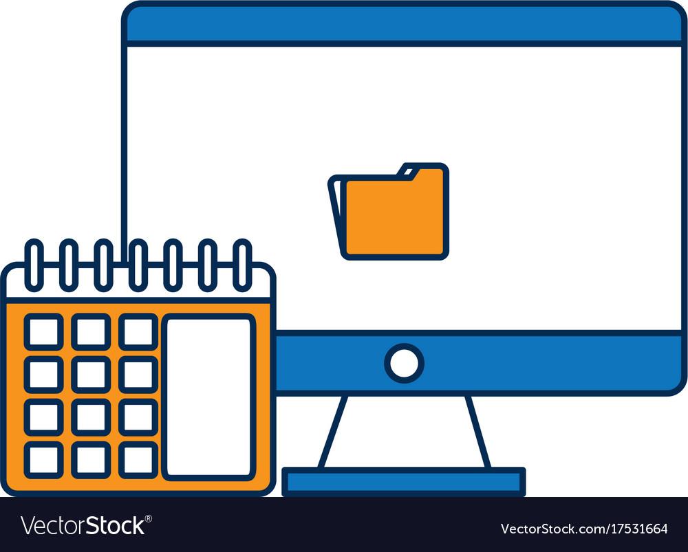 Computer and calendar icon