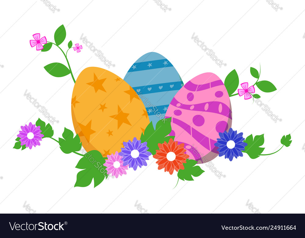 Easter eggs in green grass with flowers isolated