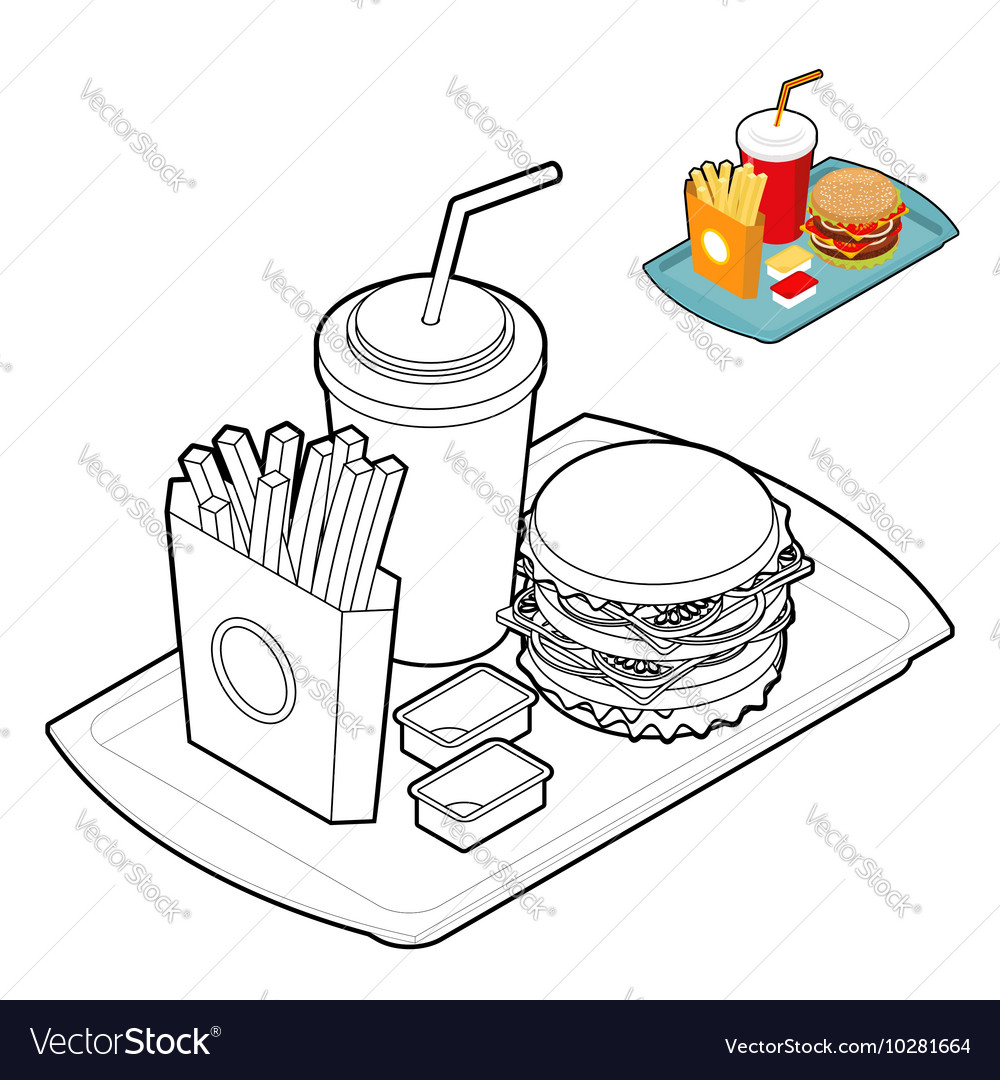 - Fast Food Coloring Book Food In Linear Style Big Vector Image