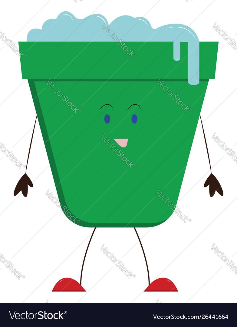 Green bucket on white background