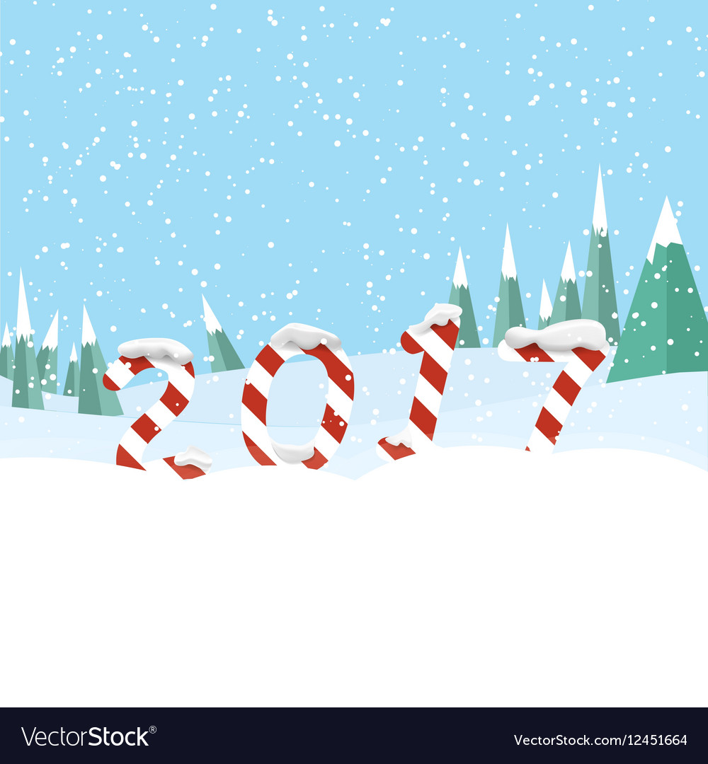 New Year 2017 in shape of candy stick in snow vector image
