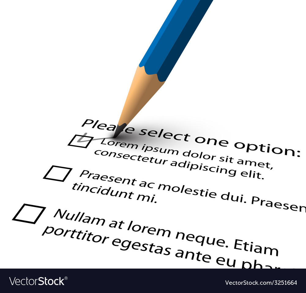 pencil filling up the questionnaire on white paper