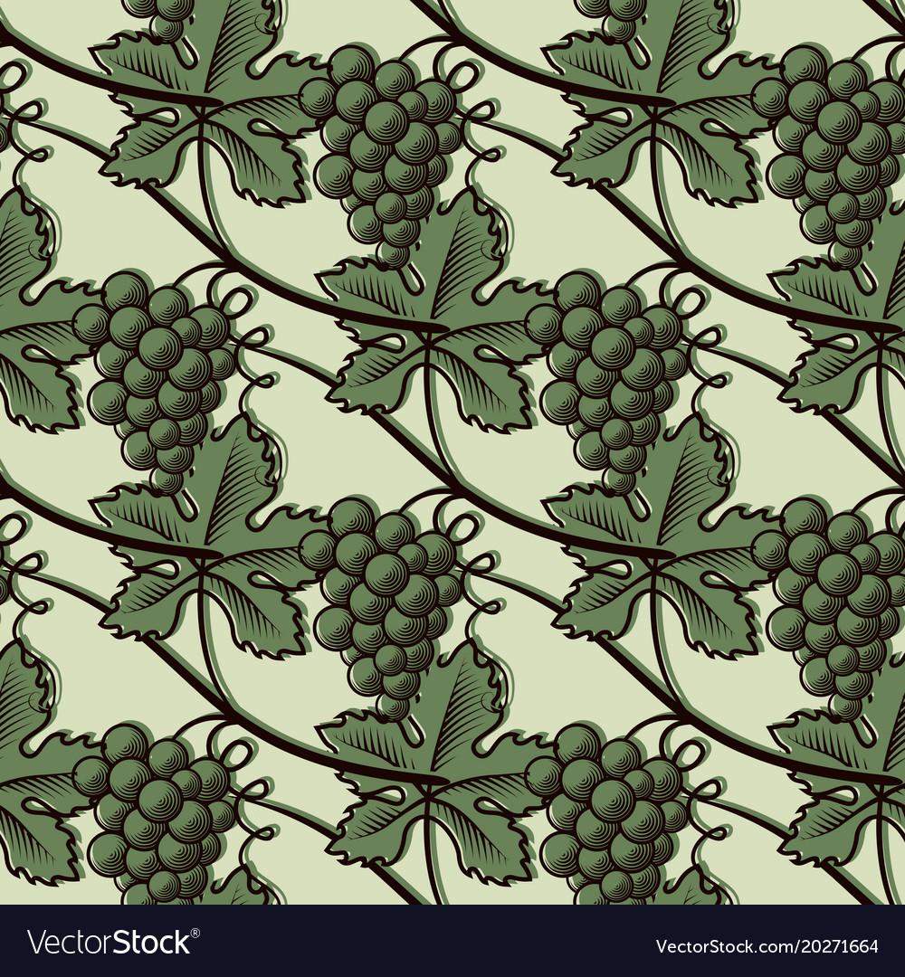 Seamless pattern of green grape