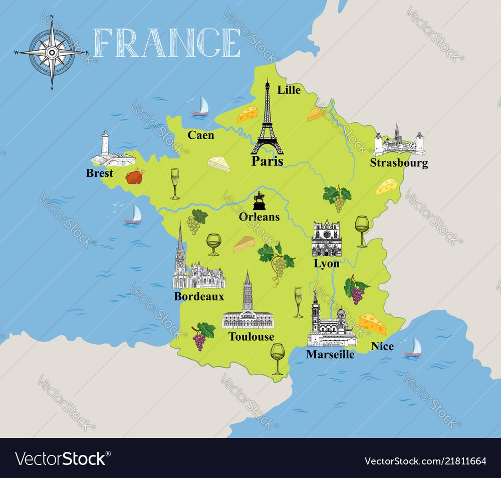 Touristic map france travel gastronomic